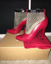 Christian Louboutin Resillissima Route Red 100 Mesh Ankle Booties UK4 EU37 US6.5