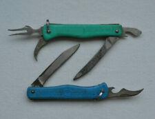USSR camping Knife vintage Set 2x Soviet Pocket Blade Tourist folding tool lot