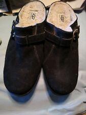 Uggs Clogs Sz 9.5 Women Black suede leather sheepskin