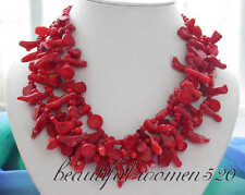 """z3162 nature 4row 18"""" bead taper branch red coral NECKLACE"""