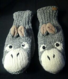 Knitwits DeLux Mittens New Donkey or Horse Wool Animal Gloves, Adult size