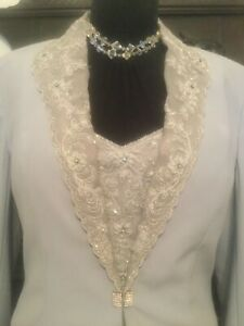 Lace Jewel Pearl Embellished Mother Of The Bride Silver Grey Outfit Long Fit 14