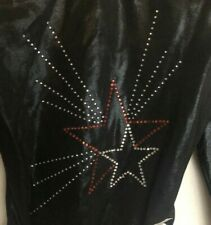 Gk Elite Leotard Adult Xs Scoop Back 3/4 Sleeve Mystique Leo Black Beaded Stars
