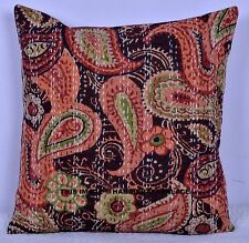 Indian Handmade Ethnic Cotton Paisley Kantha Cushion Cover Covers 16x16 decor 40