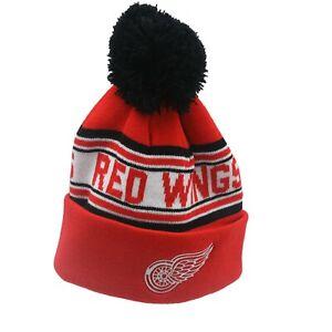 Detroit Red Wings NHL Reebok Youth Boys (8-20) Cuffed Pom Knit Beanie Winter Hat