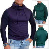 Mens Funnel Neck Jumper Long sleeve Vivid Green Purple Slim Fit Tight Cotton