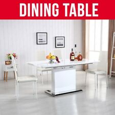 Modern Design Extendable Dining Table High Gloss White MDF Stainless Steel Base