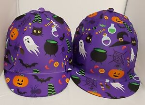 RIDING HAT COVER - HALLOWEEN - MULTI COLOURS -GHOSTS WITCHES PUMPKINS SCARY