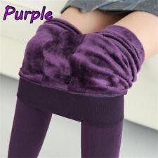Women Thermal Thick Warm Fleece Lined Winter Tight Pencil Leggings Pants Purple