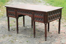 Antique French Gothic Desk Beautifully Carved Oak Conference Library Table