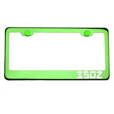 Green Chrome License Plate Frame 350Z Laser Etched Aluminum Screw Cap