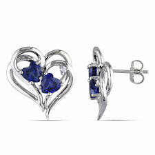 Amour Sterling Silver Created Blue Sapphire and Diamond Heart Earrings