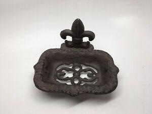 Free Standing Cast Iron Fleur De Lis Footed Soap Dish - Farmhouse Design