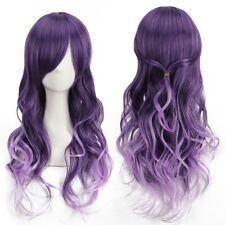 Harajuku Women Gradient Purple Curly Wavy Long Wigs Cosplay Party Full Hair SUS