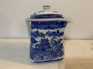Vintage Ringtons Porcelain Blue Willow Decorated Teapot