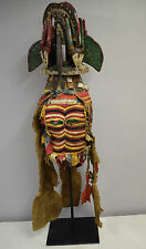 African Mask Igbo Maiden Spirit Mask Crest Helmet Northern Applique Red Cloth