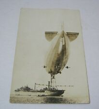 Blimp Real Photo Vintage Postcard with Ship  T*