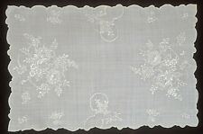 LINEN ORGANZA 5 VINTAGE MADEIRA EMBROIDERED PLACEMATS TT722