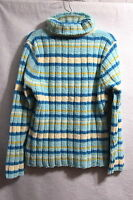 New Women's Vintage Basic Editions Blue Striped  Turtleneck Sweater Size XL