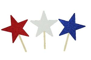"""Patriotic Red, White & Blue Glitter 2-1/2"""" STARS Cupcake Toppers Choose Amount"""
