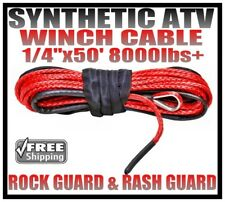 14 X 50 Red Synthetic Winch Cable Line Rope 8000lbs With Sheath Amp Rash Guard