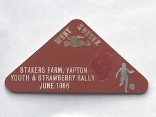 caravan plastic plaque - west sussex stakers farm .youth & strawberry rally 1986