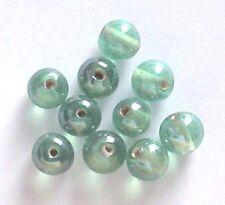 De 12: ronda 10mm lustered Perlas De Vidrio, menta, para la fabricación de joyas y artesanías