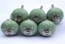 6 x Green round White flower painted petals (chrome) drawer cupboard knobs pulls