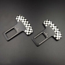 2pcs Checkered Seat Belt Buckle Car Safety Alarm Stopper Null Insert Clip Clasp
