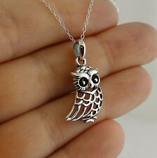 Owl Pendant Necklace - 925 Sterling Silver - Openwork Outline Bird Owls Gift NEW