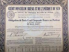 Brésil 1941 Crédit Foncier du Brésil et de l'Amérique du Sud Letulle Action