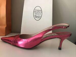 EMMA HOPE Pleat Pink Sling Back Shoes Were £285 Gorgeous Summer Sandal