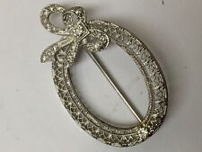 Vintage 14kt White Gold Pin with Diamond Accents
