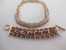 Lee Angel Tan Faux Leather Braided Link Toggle Bracelet NIP $48