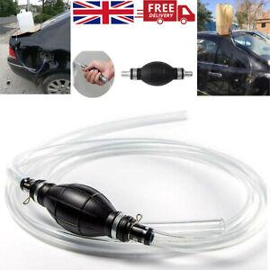 Fuel Primer Bulb Hand Pump Petrol Gas Diesel PVC Syphon Oil Drain With 2M hose