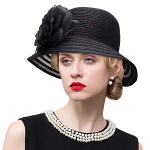 Womens Vintage Style Bucket Cloche Hat Floppy Polyester Wedding Church Hat A483