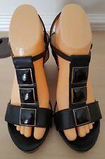 M&S Portfolio Ladies Black Leather Animal Print Wedge Sandals Shoe UK 6 EU 39.5