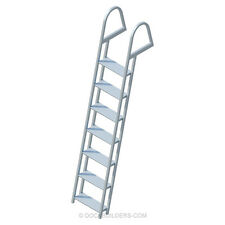 """7-Step Angled Stationary Dock Ladder with 5"""" Extra Wide Steps Aluminum"""