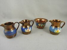 Luster Ware Copper and Blue Pitchers Antique