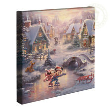 Thomas Kinkade Studios Mickey and Minnie Sweetheart Holiday 14 x 14 Wrap Canvas