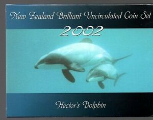 2002 ~ New Zealand ~ Brilliant Uncirculated Coin Set ~ Hector's Dolphin ~ Superb