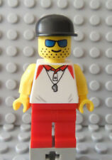 LEGO Minifigs Beach Ocean Pool Lifeguard with Stubble Head Blue Sunglasses Hat
