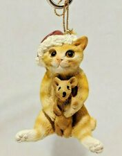 Orange Tabby With His Pet Mouse Resin Christmas Ornament