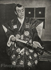 1929 JAPAN Original Photo Gravure TOKYO GAMJIRO ACTOR THEATER Samurai Sword Art