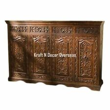 KraftNDecor Ethnic Wooden Handcarved Side Board in Brown Colour