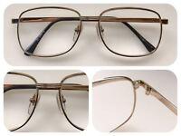 A40 Superb Quality Strength +1.00 Mens Metal Reading Glasses/Gold Frame/Big Lens