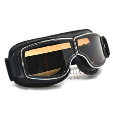 Leather Vintage Goggles Aviator Pilot Glasses Helmet Driving Motorcycle Cruiser