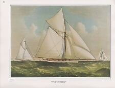 "1972 Vintage Currier & Ives YACHTING ""THE YACHT VOLUNTEER"" COLOR Lithograph"