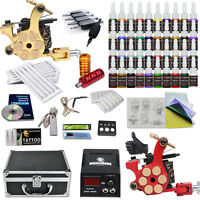 Complete Tattoo Kit 2 Machine Gun 40 Color inks Needle Grip Power Supply Box