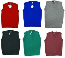 Boys Sleeveless V Neck School Uniform Tank Top Knitted Cardigan School Jumper
